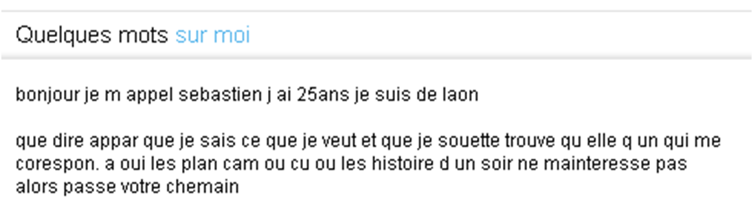 annonce rencontre homme exemple)