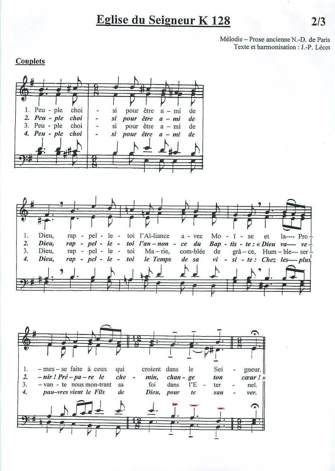 partition du chant allons à la rencontre du seigneur)