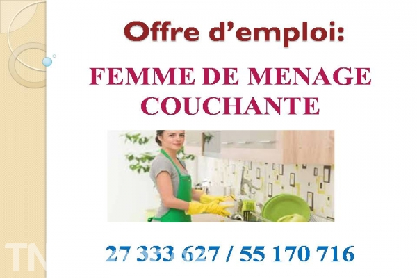 cherche travail femme de menage a tunisie